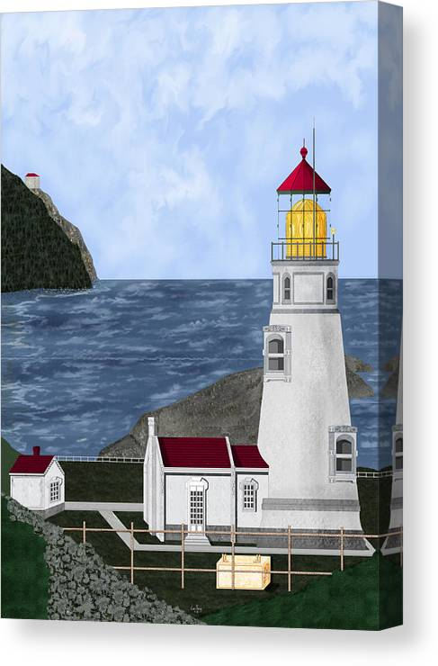 Lighthouse Canvas Print featuring the painting Heceta Head Oregon by Anne Norskog