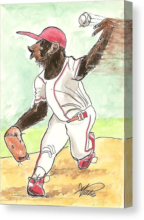 Baseball Canvas Print featuring the drawing Hit This by George I Perez