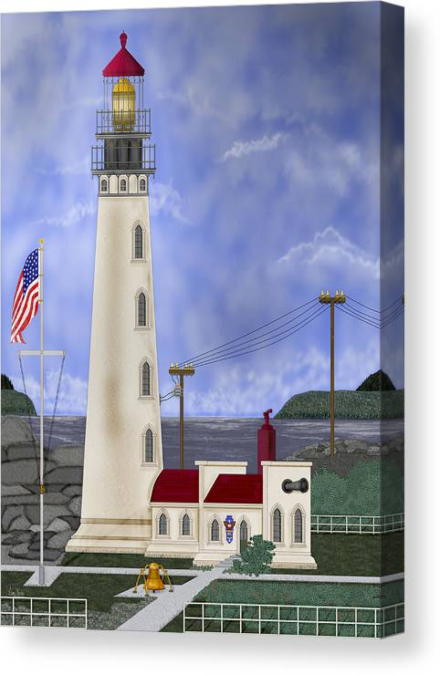 Lighthouse Canvas Print featuring the painting Home Port by Anne Norskog