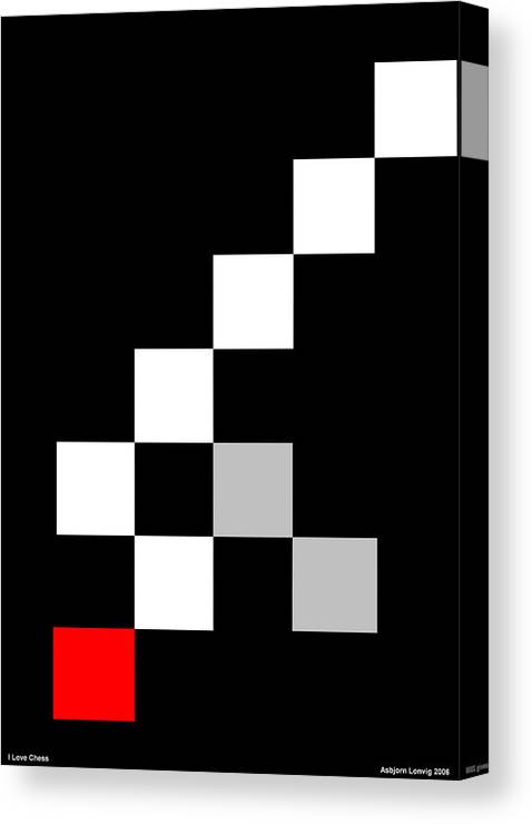 Chess Canvas Print featuring the digital art I Love Chess by Asbjorn Lonvig