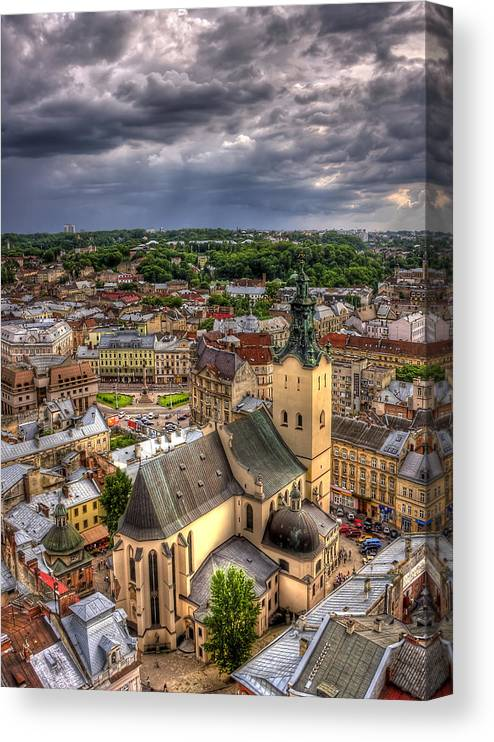 Above Canvas Print featuring the photograph In the Heart of the City by Evelina Kremsdorf