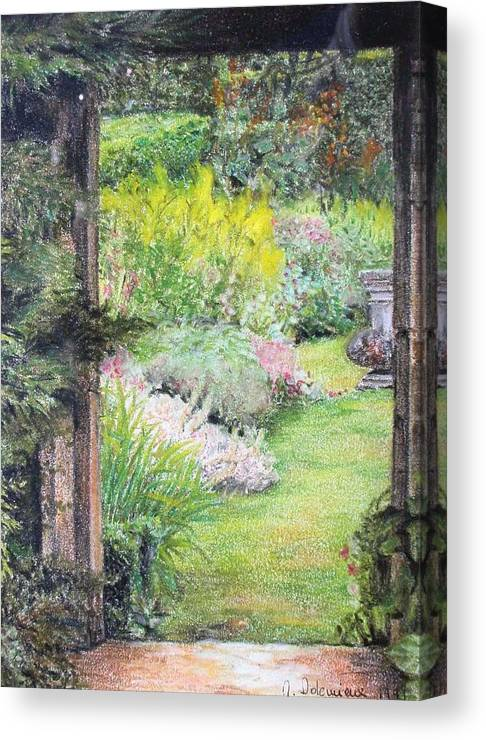 Landscape Canvas Print featuring the drawing Jardin by Muriel Dolemieux