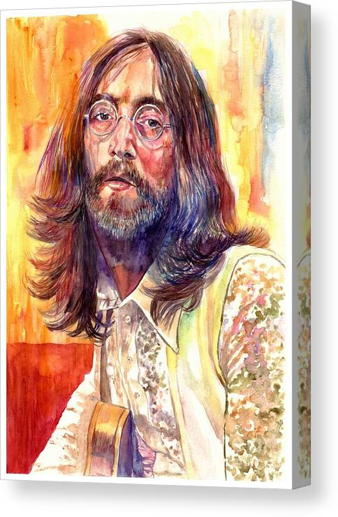 John Lennon Canvas Print featuring the painting John Lennon watercolor by Suzann Sines