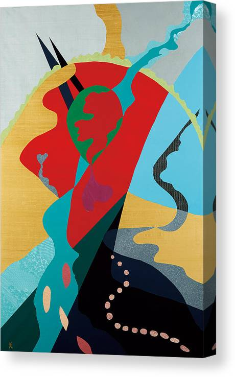 Japanese Canvas Print featuring the painting Ki - Picture made of Japanese paper and cloth - by Kosai Watanabe