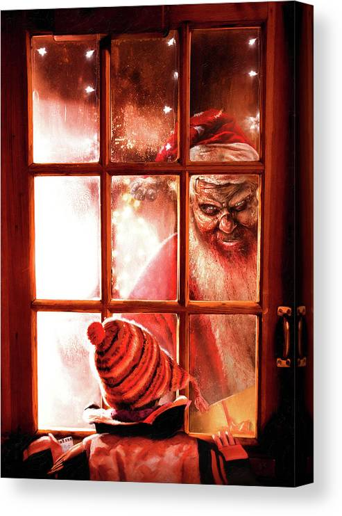 Christmas Canvas Print featuring the painting Krampus by Joe Roberts