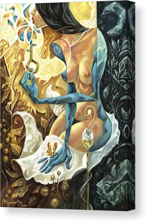 Blue Canvas Print featuring the painting Lady of The Key by Alejandro Dini