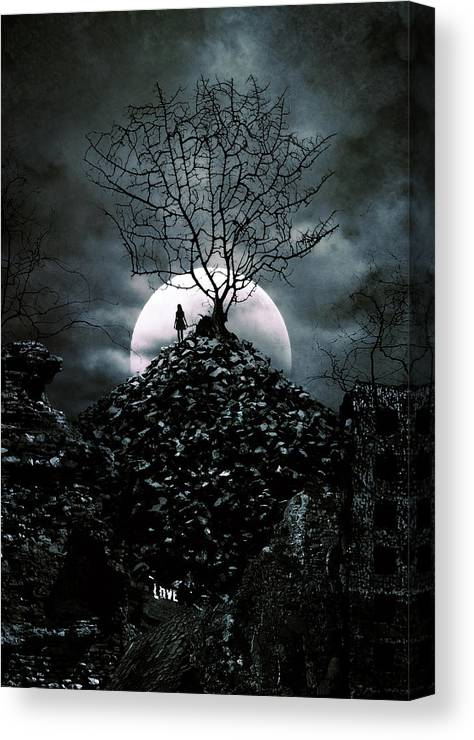 Bare Tree Canvas Print featuring the digital art Last Day by Cambion Art