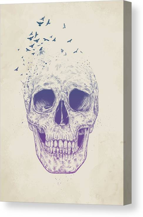 Skull Canvas Print featuring the mixed media Let them fly by Balazs Solti