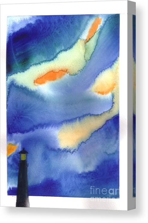 A Lighthouse In A Beautiful Stormy Night. This Is A Contemporary Watercolor Painting. Canvas Print featuring the painting Lighthouse by Mui-Joo Wee