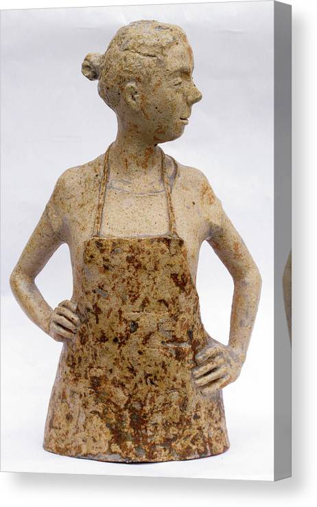 Sculpture Canvas Print featuring the sculpture Lina the Ceramist by Raimonda Jatkeviciute-Kasparaviciene