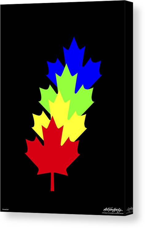 Maple Leaves Canvas Print featuring the painting Maple Leaves by Asbjorn Lonvig