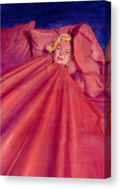 Marilyn Monroe Canvas Print featuring the painting Marilyn In Bed by Ken Meyer jr