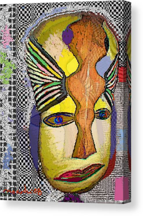 Drawing Canvas Print featuring the drawing Mask 13 by Noredin Morgan