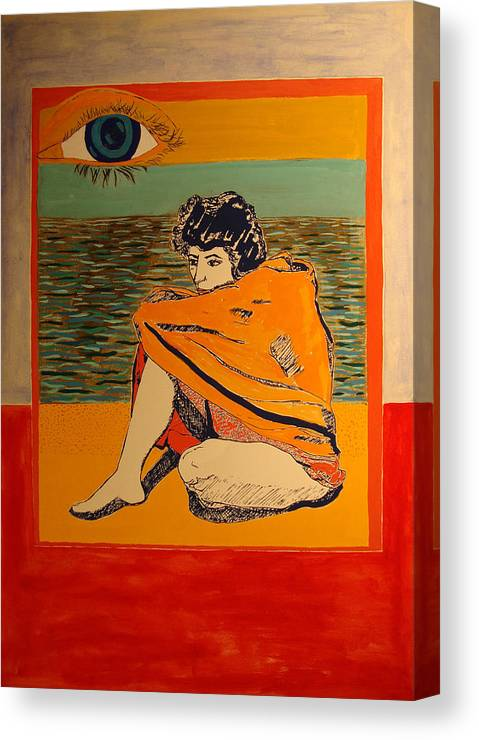 Canvas Print featuring the painting Model with blanket colored by Biagio Civale