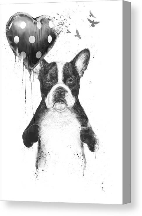 Bulldog Canvas Print featuring the mixed media My heart goes boom by Balazs Solti