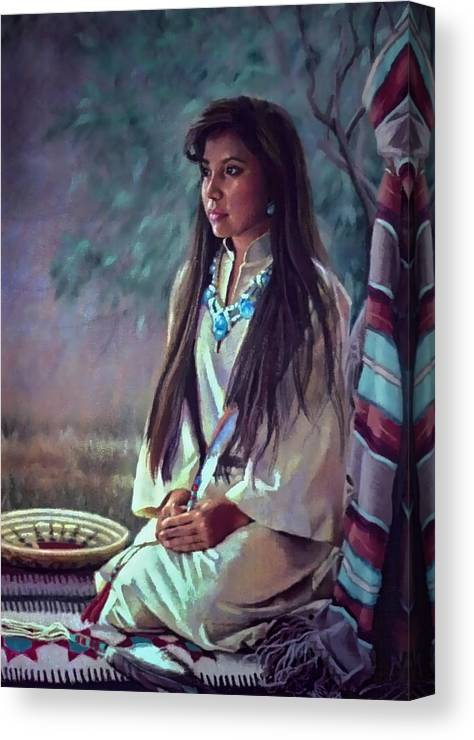 Figure Canvas Print featuring the painting Navajo Beauty by Jean Hildebrant