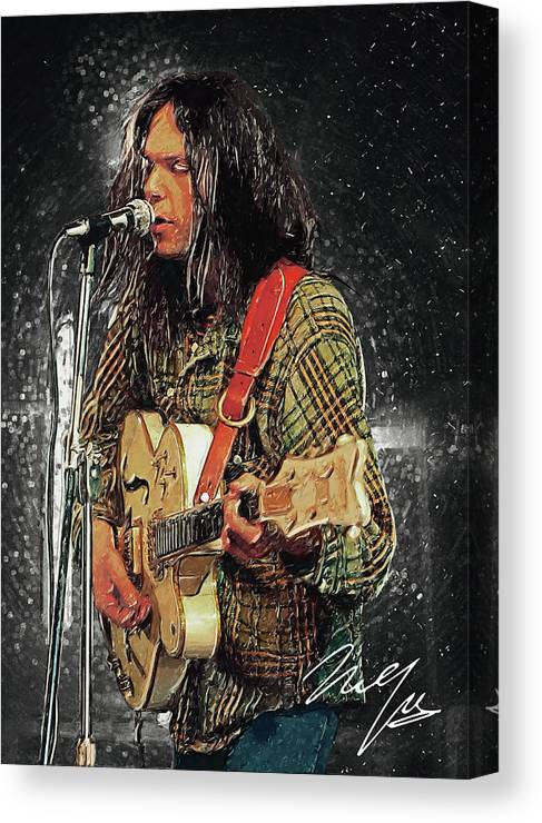 Neil Young Canvas Print featuring the digital art Neil Young by Zapista OU