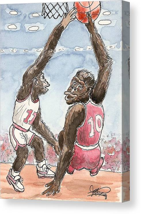 Basketbal Canvas Print featuring the painting No No No by George I Perez