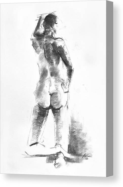 Nude Canvas Print featuring the drawing Nude 44 by Ani Gallery