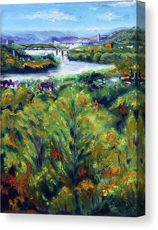 Landscape Canvas Print featuring the painting Ohio River From Ayers-limestone Road by Robert Sako