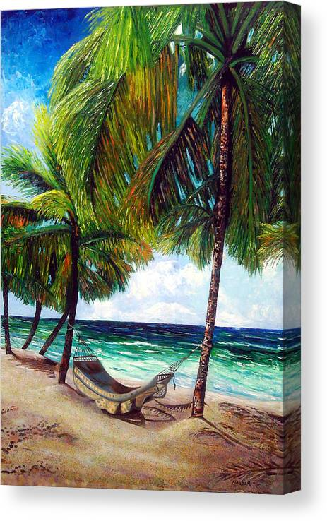Beach Canvas Print featuring the painting On the beach by Jose Manuel Abraham