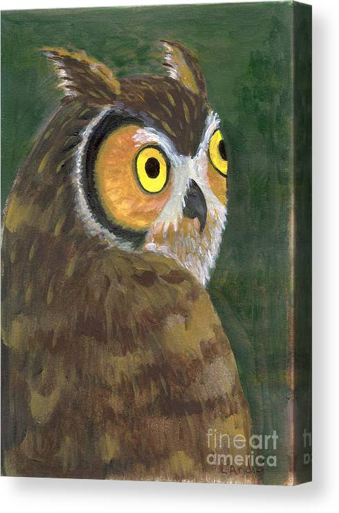 Owl Canvas Print featuring the painting Owl 2009 by Lilibeth Andre