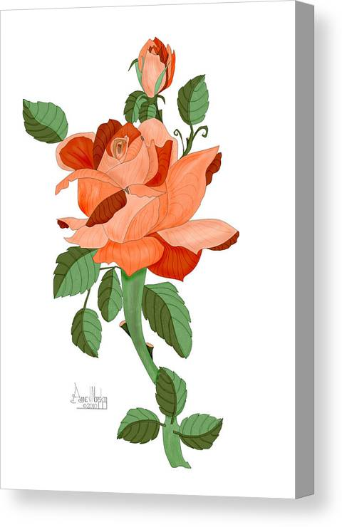 Rose Canvas Print featuring the painting Party Colored Rose by Anne Norskog