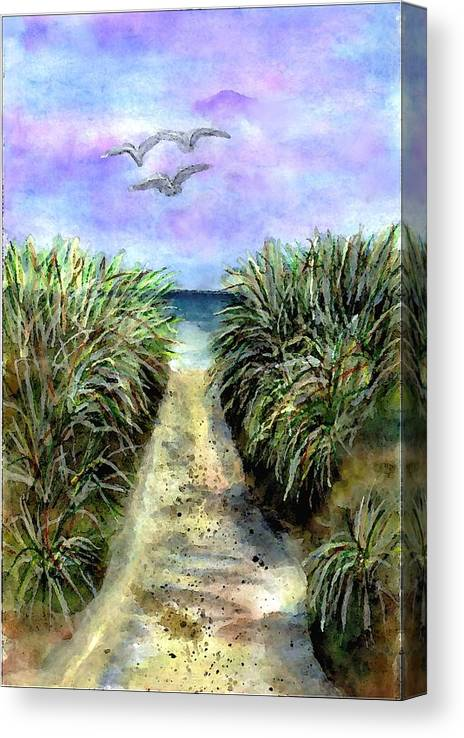 Beach Canvas Print featuring the painting Pathway To The Shore by Dina Sierra