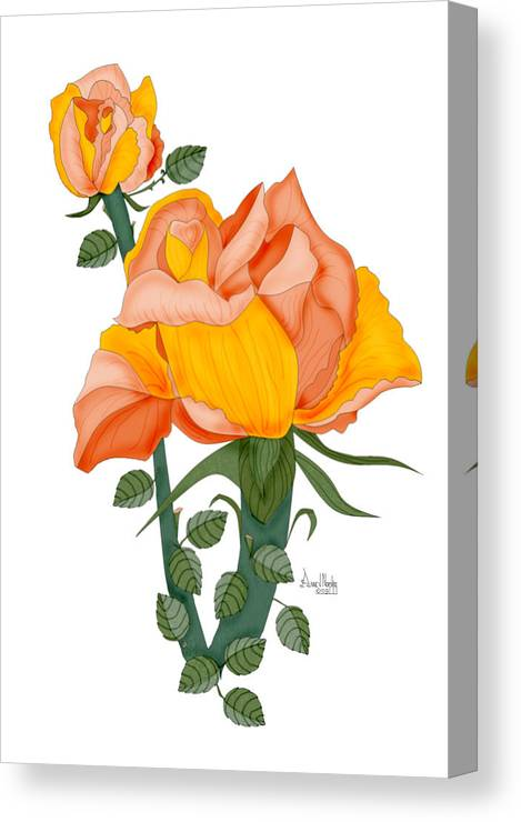 Roses Canvas Print featuring the painting Peaches and Creme by Anne Norskog