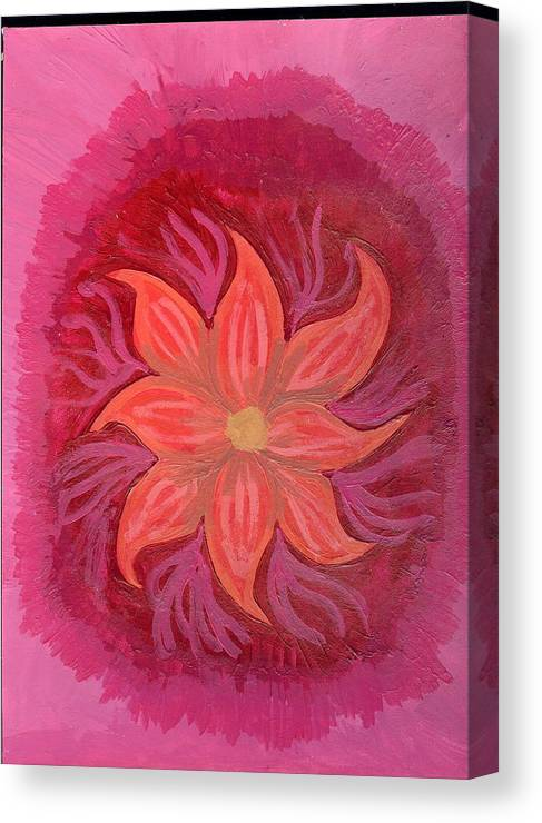 Flower Canvas Print featuring the painting Pink Fusion by Laura Lillo