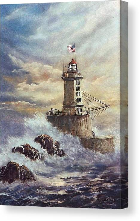 Lighthouse Canvas Print featuring the painting Point St. George Reef Lighthouse by Lynne Parker