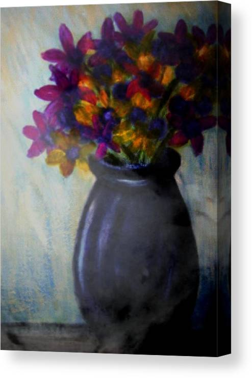 Canvas Print featuring the painting Purple vase and flowers by Joseph Ferguson