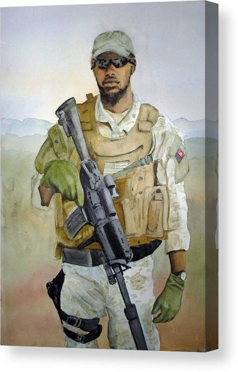 Soldier Canvas Print featuring the painting Ready by Kerra Lindsey
