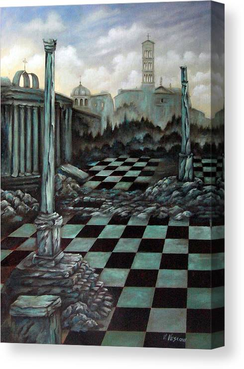 Surreal Canvas Print featuring the painting Sepulchre by Valerie Vescovi