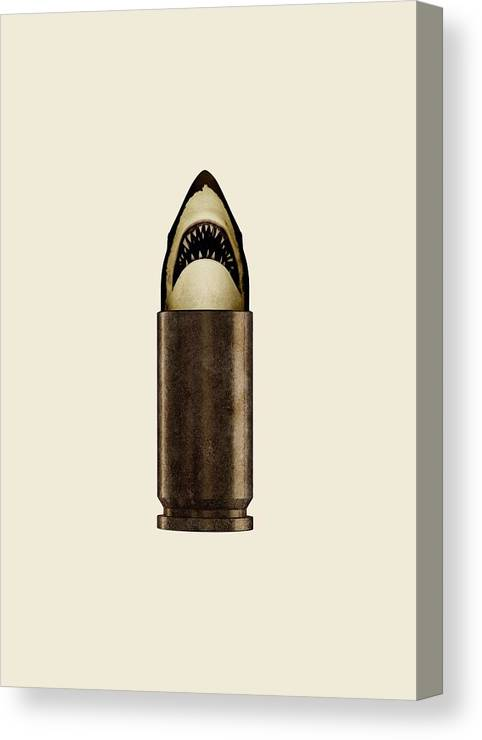 Bullet Canvas Print featuring the digital art Shell Shark by Nicholas Ely