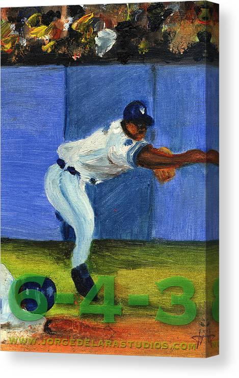 Pitchers Canvas Print featuring the painting Six-4-Three by Jorge Delara