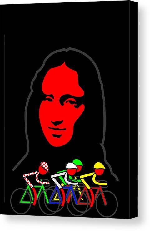 Tour De France Canvas Print featuring the digital art Stage 21 Mona Lisa by Asbjorn Lonvig