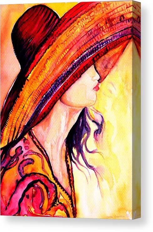 Elegant Lady Canvas Print featuring the painting Summer Hat by Carole Spandau