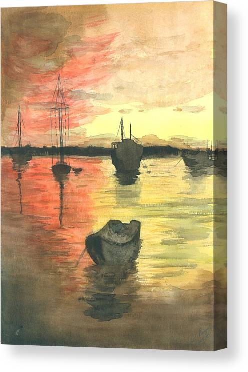 Sunset Cloudy Sky Canvas Print featuring the painting Sunset Lagoon by Dan Bozich