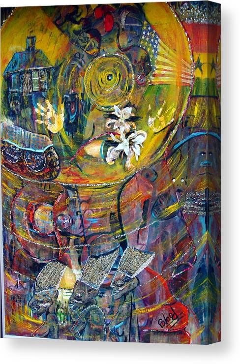 Figures Canvas Print featuring the painting The Journey by Peggy Blood
