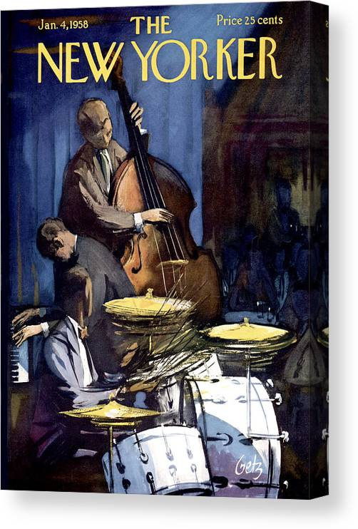 Concert Canvas Print featuring the painting The New Yorker Cover - January 4th, 1958 by Arthur Getz