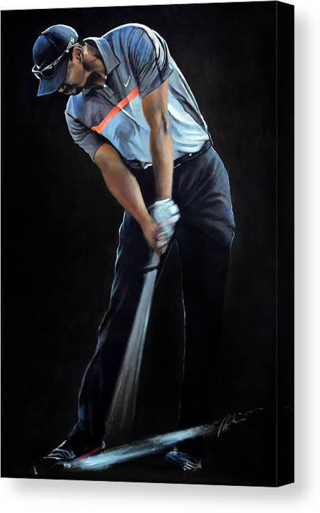 Tiger Woods Canvas Print featuring the painting Tiger Woods by Mark Robinson