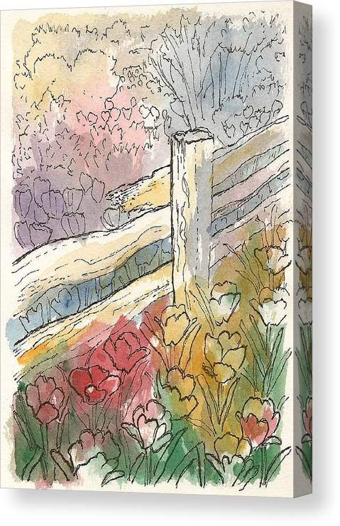 Watercolors Canvas Print featuring the painting Tulip Field by George I Perez