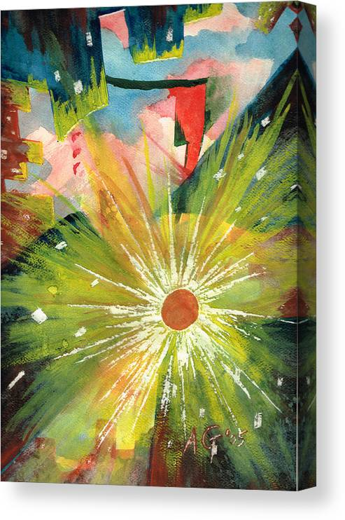 Downtown Canvas Print featuring the painting Urban Sunburst by Andrew Gillette
