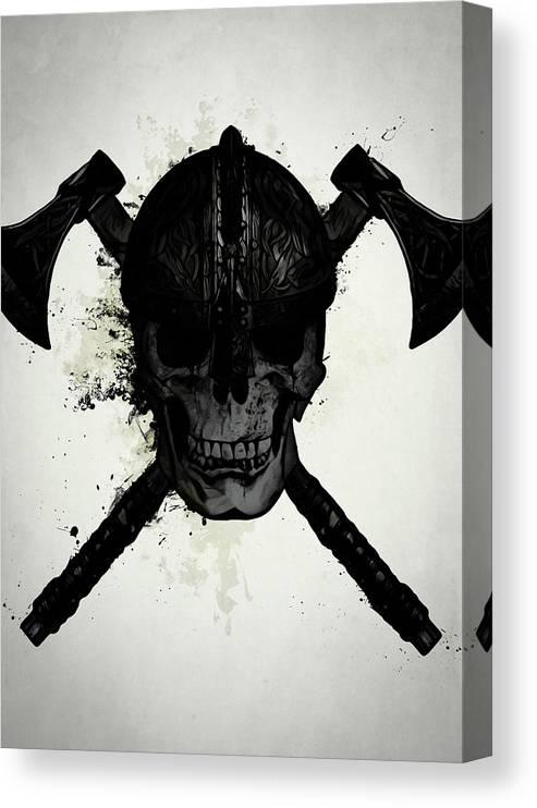 Viking Canvas Print featuring the digital art Viking Skull by Nicklas Gustafsson