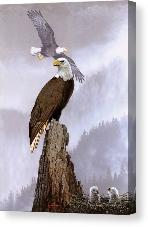 Wildlife Canvas Print featuring the painting Wake Up Call by Harold Shull