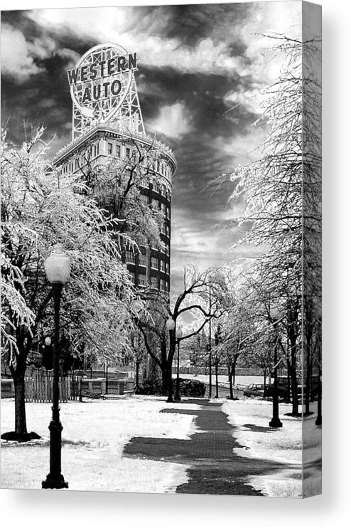 Western Auto Kansas City Canvas Print featuring the photograph Western Auto In Winter by Steve Karol