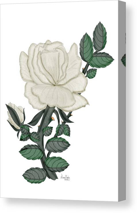White Rose Canvas Print featuring the painting White Rose on a Winter Day by Anne Norskog