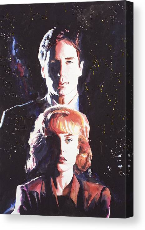 Television Canvas Print featuring the painting X-Files by Ken Meyer jr