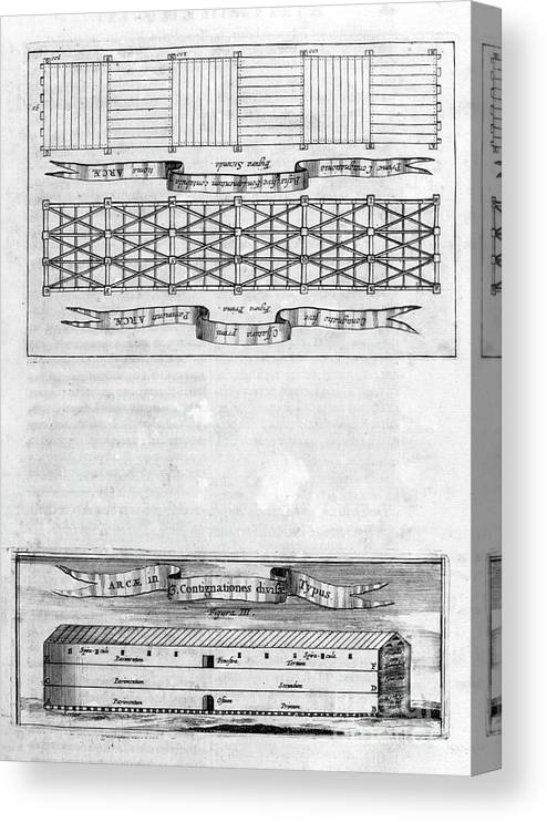 Engraving Canvas Print featuring the drawing Description Of The Ark, 1675. Artist by Print Collector